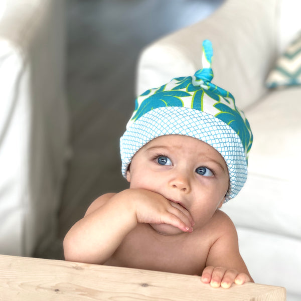 Turquoise Palm Trees Organic Cotton Knit Baby Hat