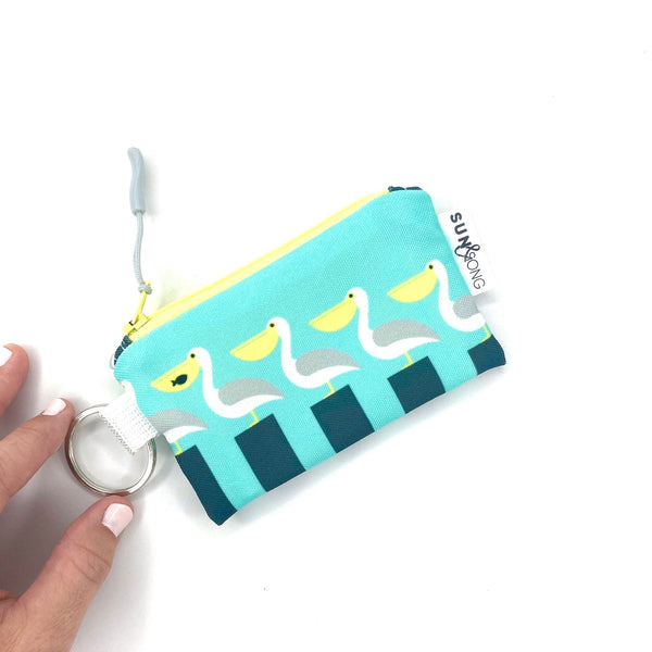 aqua pelicans on piers key chain wallet
