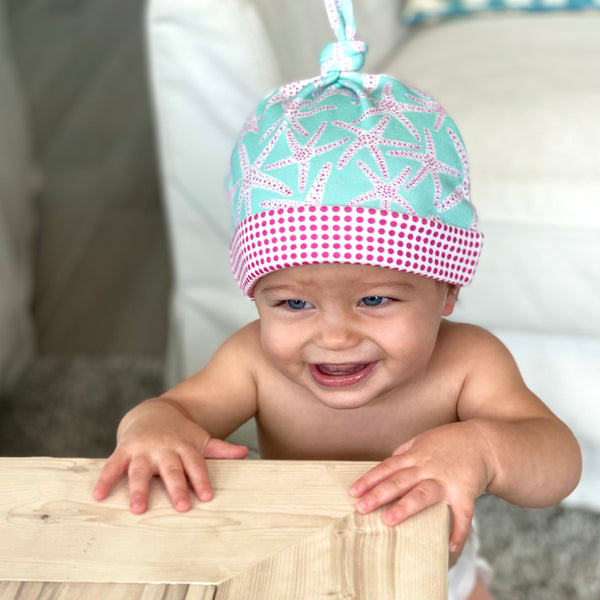 Aqua Starfish Organic Cotton Knit Baby Hat