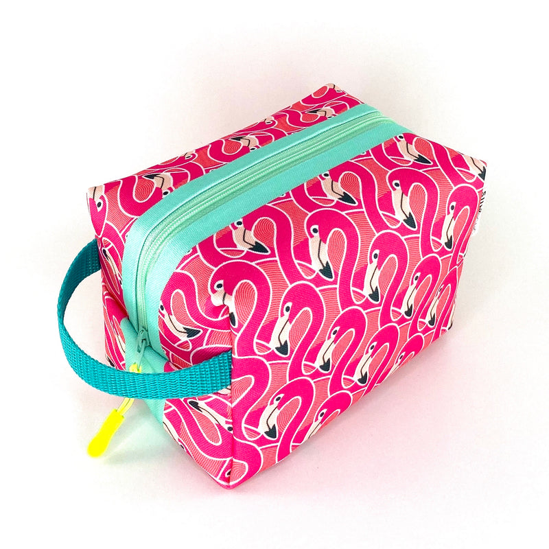 pink flamingo waterproof boxy toiletry bag