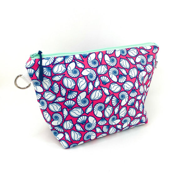 pink navy seashell standup cosmetic pouch