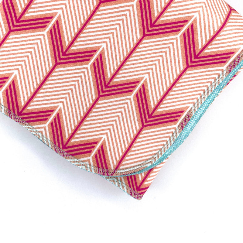 Pink Chevron Arrows Organic Cotton Knit Swaddle Blanket & Hat Set
