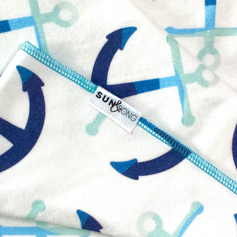 Blue Anchors Organic Cotton Knit Swaddle Blanket & Hat Set