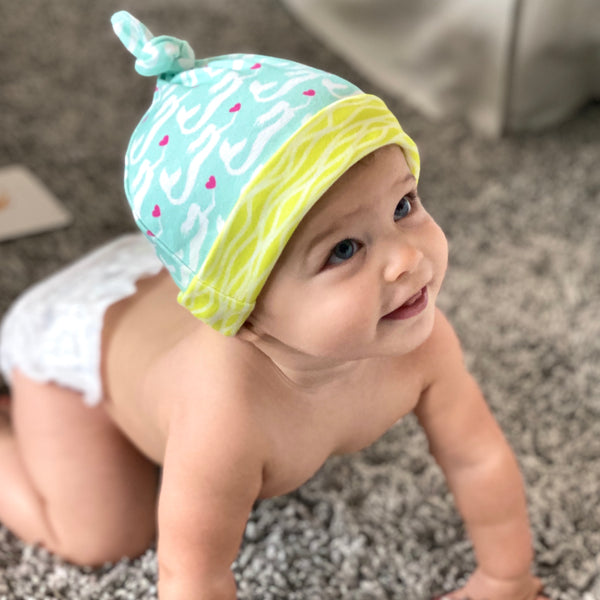 Aqua Mermaids Organic Cotton Knit Baby Hat