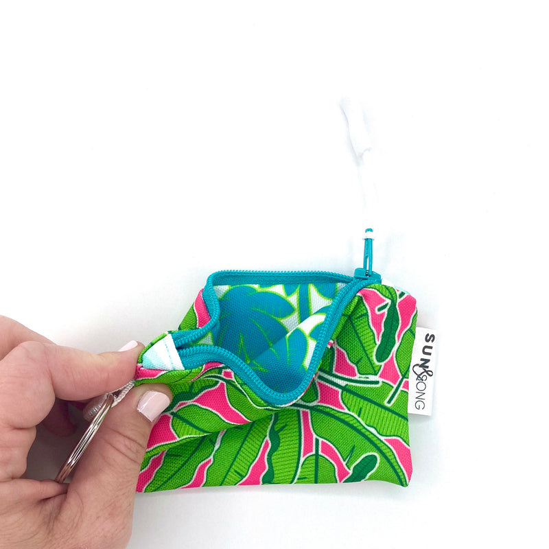 Pink Banana Leaves Key Chain Wallet