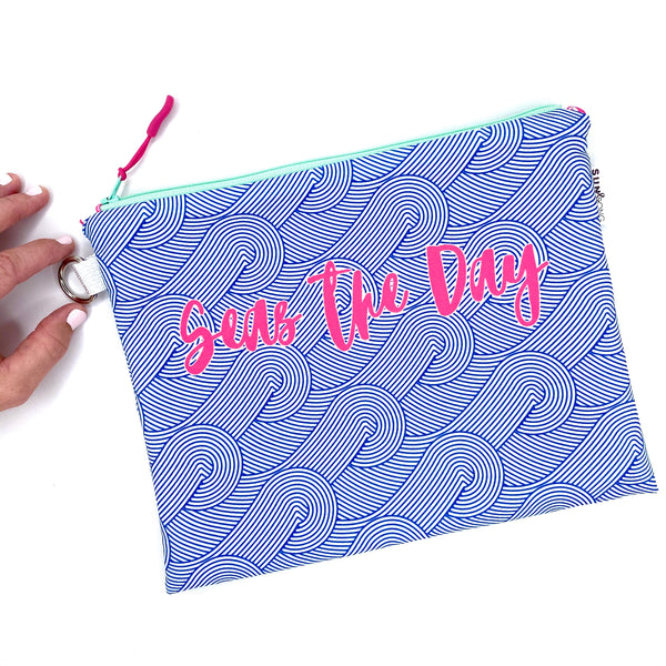 blue waves seas the day waterproof wet bikini bag