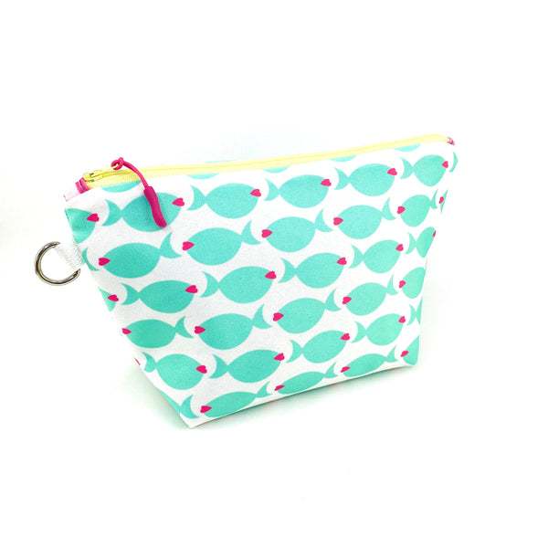 aqua fish lips sturdy cosmetic pouch