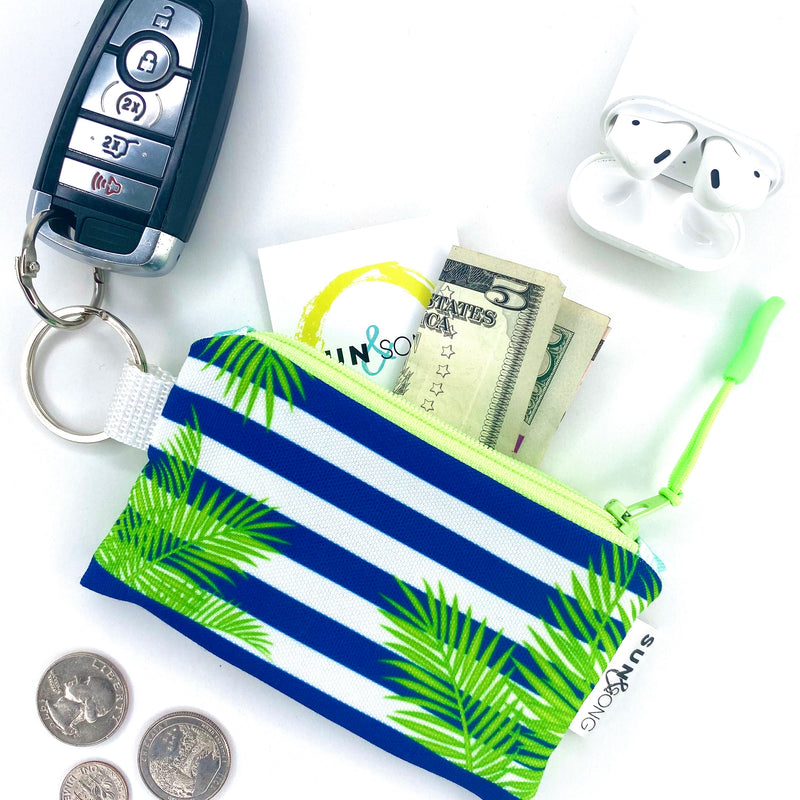 palm frond key chain wallet