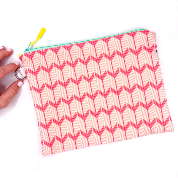 pink chevron arrow waterproof wet bag