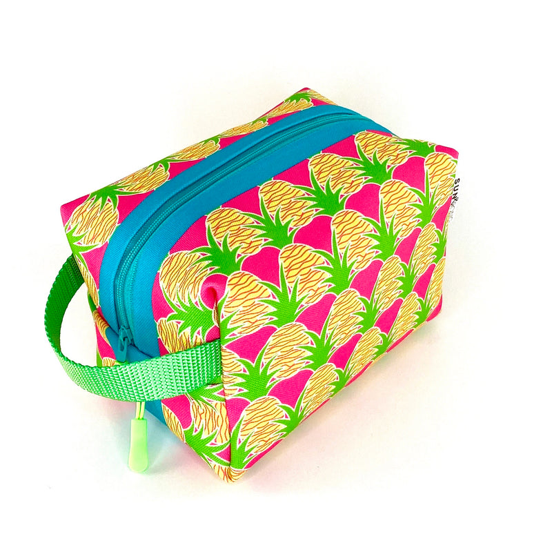 pink aloha pineapple waterproof travel accessory bag