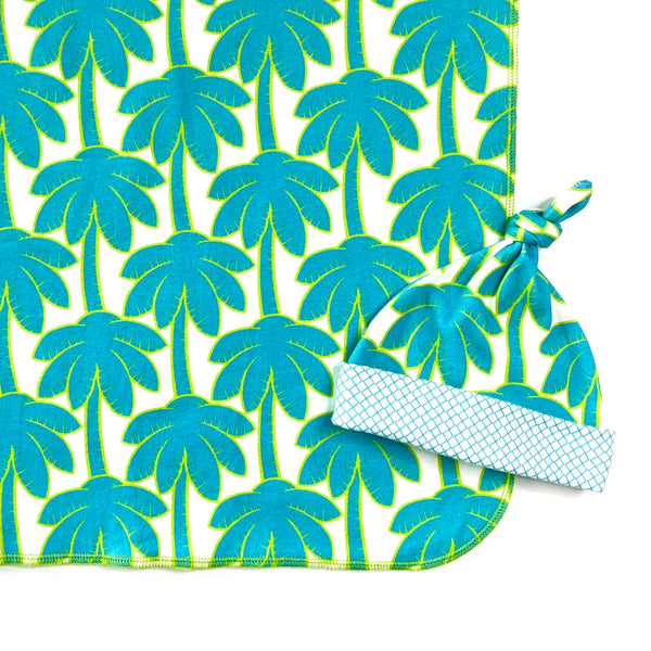 turquoise blue palm tree unisex baby blanket