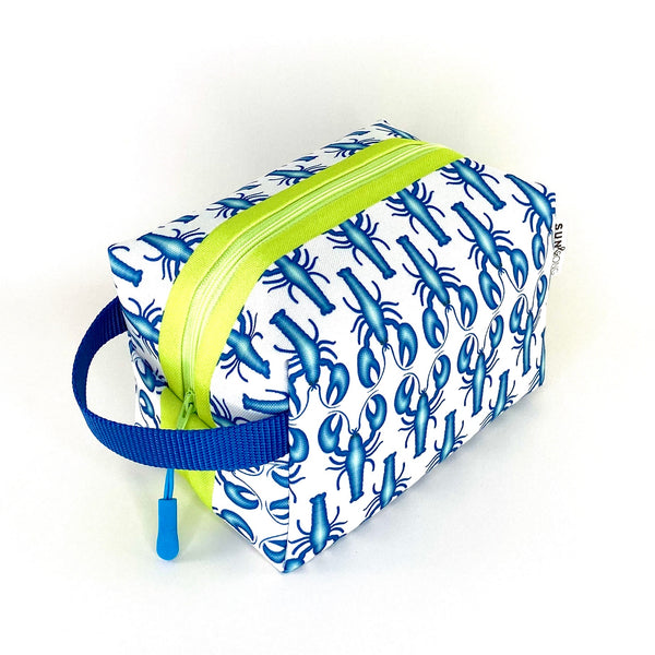 blue lobster waterproof boxy travel toiletry bag