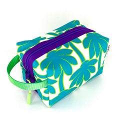 turquoise palm tree boxy waterproof travel accessory bag