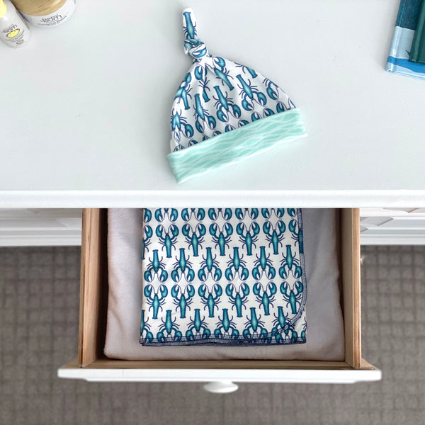 Blue Lobsters Organic Cotton Knit Swaddle Blanket & Hat Set