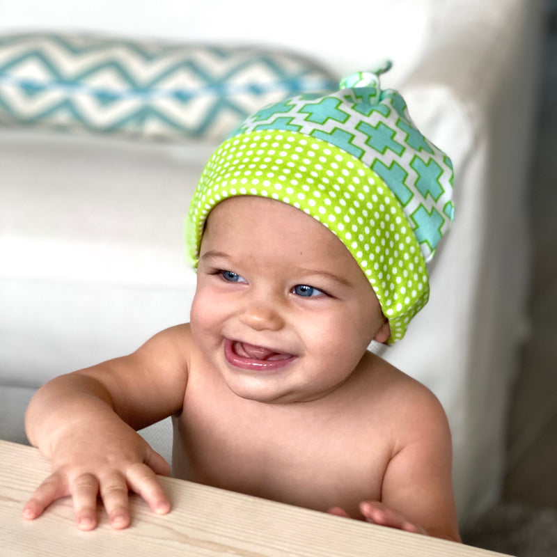 Aqua Swiss Cross Organic Cotton Knit Baby Hat