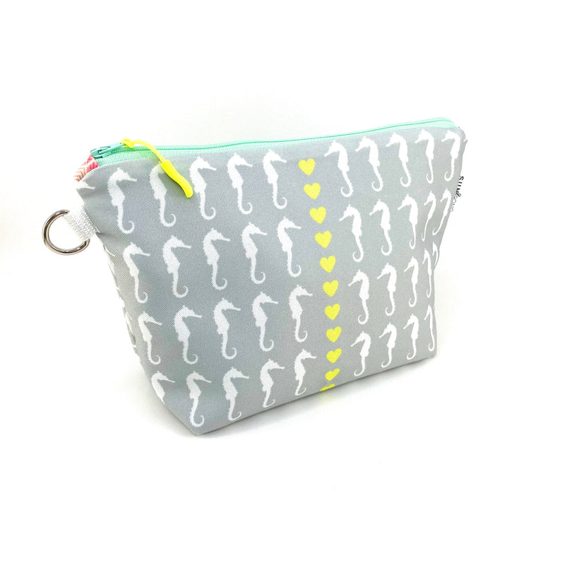 grey seahorse stand up makeup pouch