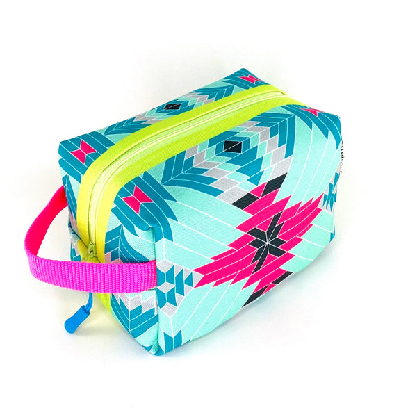 aqua pink modern aztec waterproof boxy toiletry bag