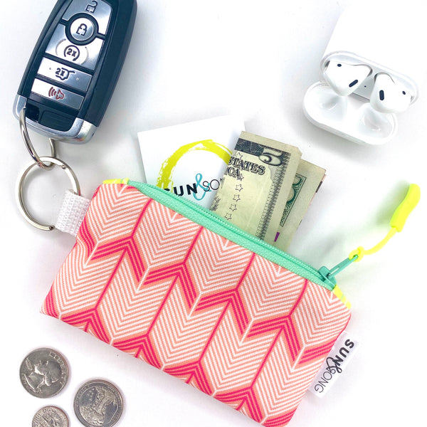 Pink Chevron Arrows Key Chain Wallet