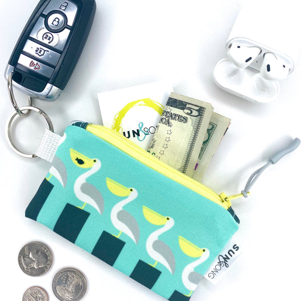 Aqua Pelicans Key Chain Wallet