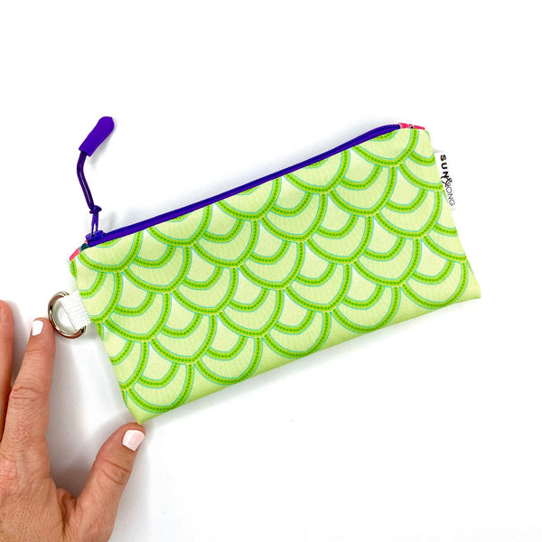 green fish scales pencil pouch
