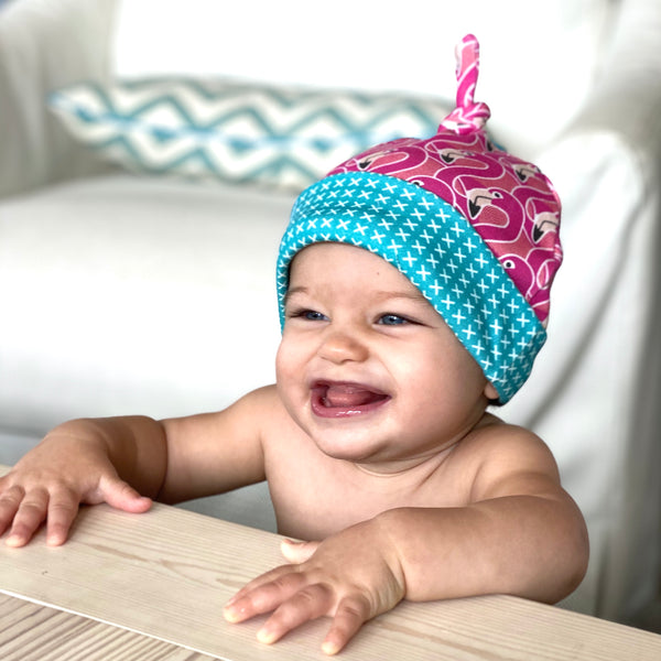 Pink Flamingo Organic Cotton Knit Baby Hat