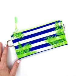 navy steipwa and palm leaves small zipper pouch