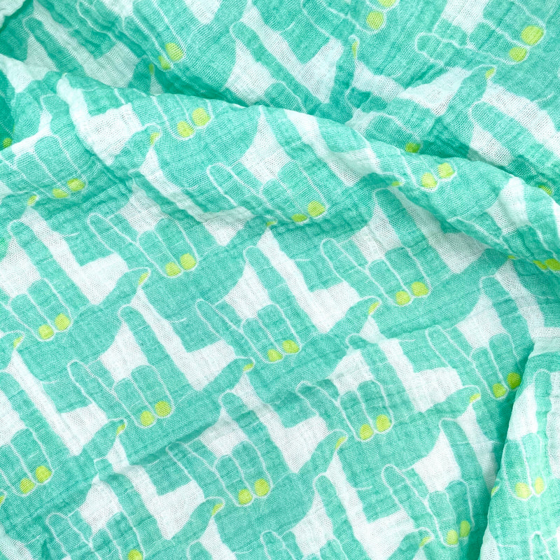 Aqua Love Signs Organic Cotton Muslin Baby Blanket