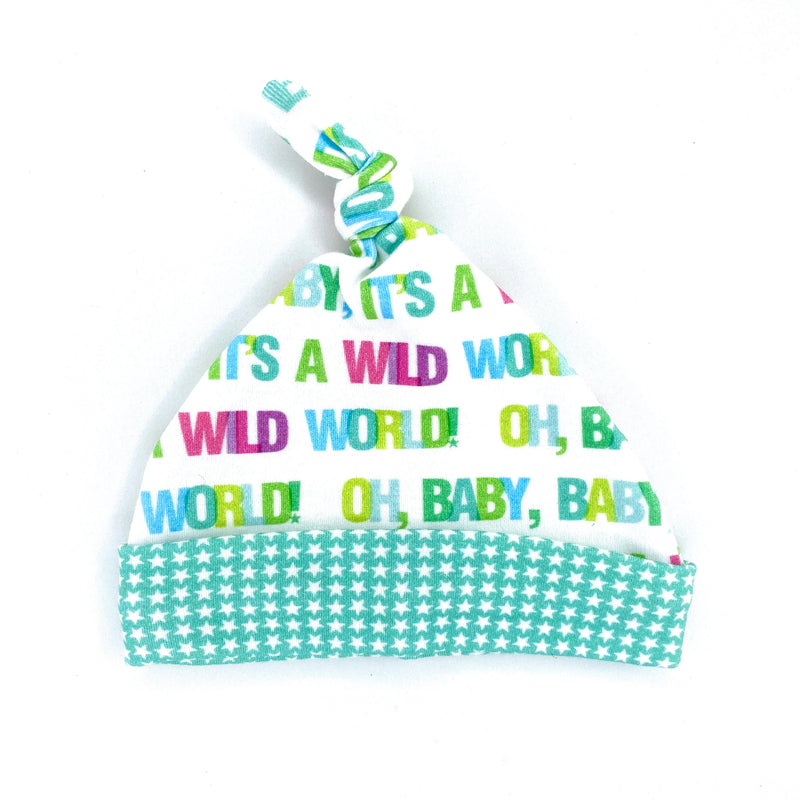 Colorful Wild World Organic Cotton Knit Swaddle Blanket & Hat Set