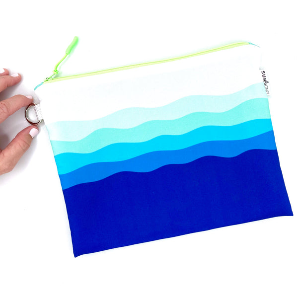 blue waves recycled canvas waterproof wet bag