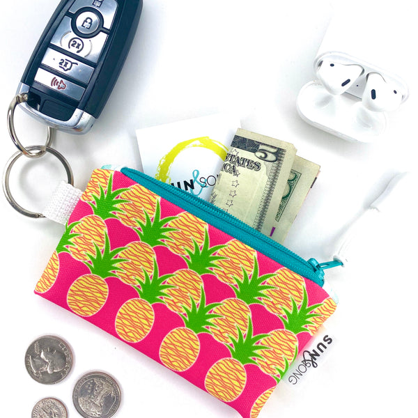 Pink Aloha Pineapples Key Chain Wallet