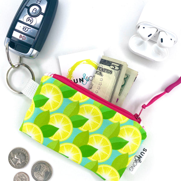 Yellow Lemons Key Chain Wallet