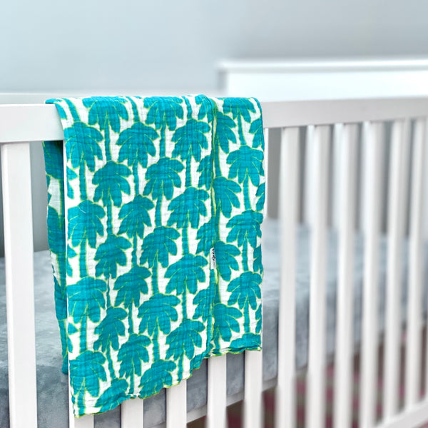 Turquoise Palm Trees Organic Cotton Muslin Baby Blanket