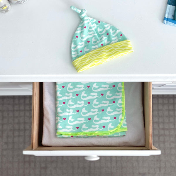 Aqua Mermaids Organic Cotton Knit Swaddle Blanket & Hat Set