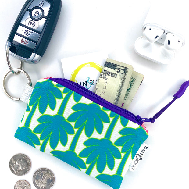 Turquoise Palm Trees Key Chain Wallet 1