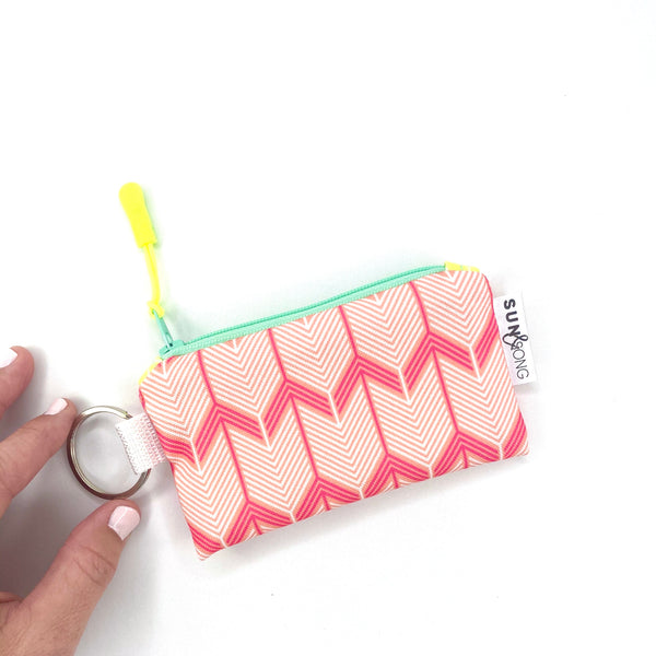 pink coral chevron arrow key chain bag