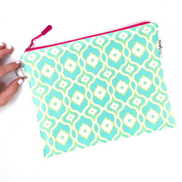aqua and yellow ornamental waterproof zipper pouch