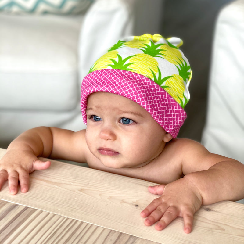 Aloha Pineapples Organic Cotton Knit Baby Hat