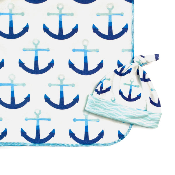 navy blue anchor organic newborn swaddle blanket