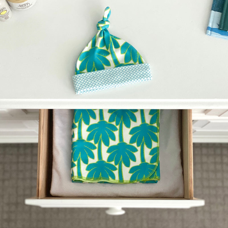 Turquoise Palm Trees Organic Cotton Knit Swaddle Blanket & Hat Set