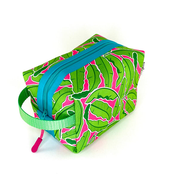 pink banana leaf waterproof dopp kit bag