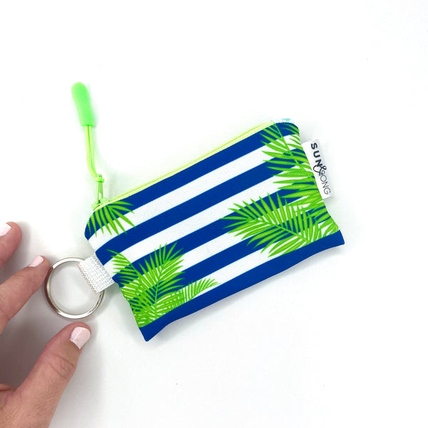 palm leaves stripes zipper bag