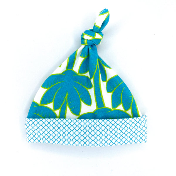 turquoise organic cotton gender neutral baby hat