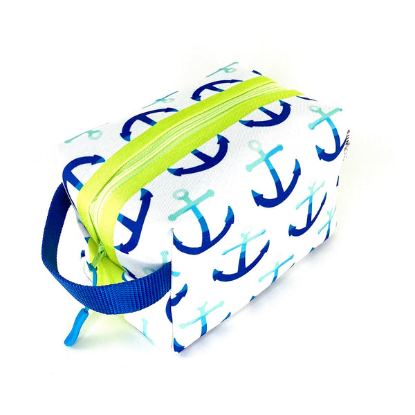 navy blue anchors recycled canvas travel accessory pouch