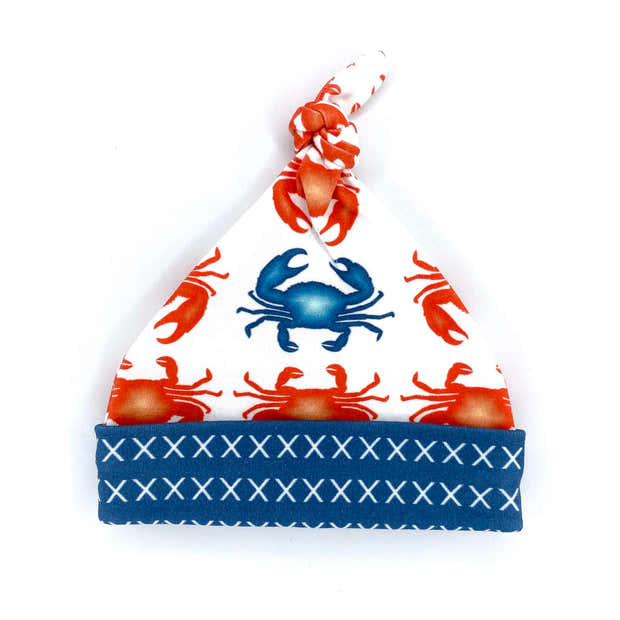 Red Crabs Organic Cotton Knit Swaddle Blanket & Hat Set 1