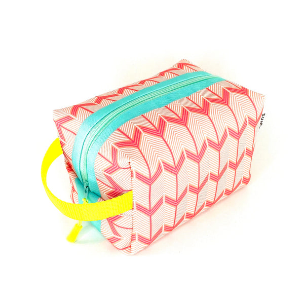 pink coral chevron arrow boxy toiletry bag