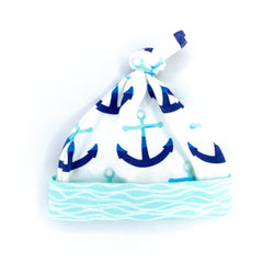 navy blue anchors organic cotton baby boy hat