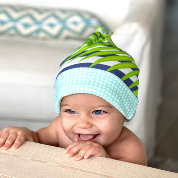 Palm Fronds & Stripes Organic Cotton Knit Baby Hat