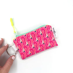 pink flamingo key chain wallet