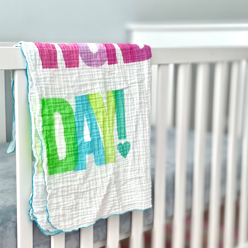 Colorful Wonderful Day Organic Cotton Muslin Baby Blanket