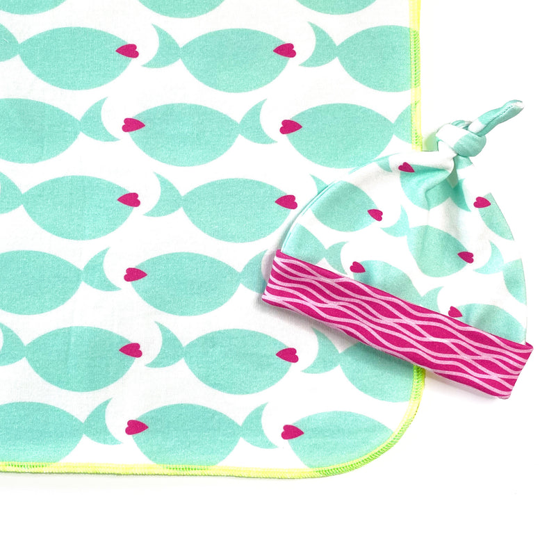 fish lips organic baby blanket and hat gift set
